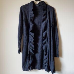 BCBGMAXAZRIA black ruffled cardigan size M